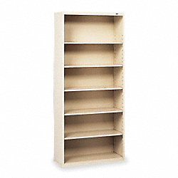 Welded Steel Bookcase, H 72, 6 Shelf, Putty