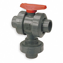 Ball Valve, Three Way, Socket, 1 In, PVC