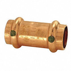 Coupling, With Stop, 1 1/2 In, Copper