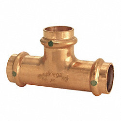 Tee, 3/4 x 3/4 x 1/2 In, Copper, 200 PSI