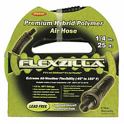 Air Hose, 3/8 ID, 100 Ft, 1/4 MNPT, Green