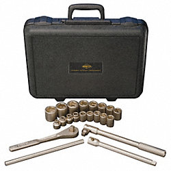 Socket Set, SAE, 6 Pt, 1/2 In Dr, 21 Pc