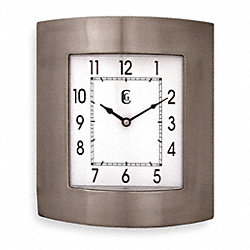 Quartz Clock, Square, Brushed Silver