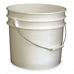 Plastic Pail, White, Cap 3.5 Gal, w/Handle