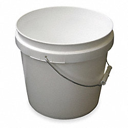 Plastic Pail, White, Cap 2 Gal, With Handle