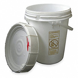 Plastic Pail, White, Cap 5 Gal, With Lid
