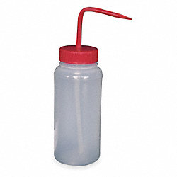 Wash Bottle, Wide, Red, Polypropylene