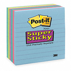 Sticky Notes, 4 x 4 In., Assorted, PK6