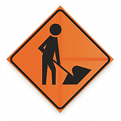 Traffic Sign, 36 x 36In, BK/ORN, SYM, MUTCD