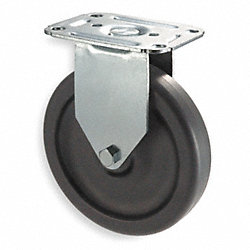 Rigid Plate Caster, 125 lb, 3 In Dia