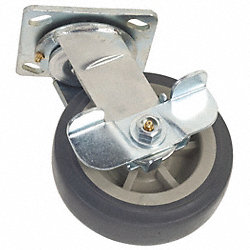 Swivel Plate Cstr w/Brke, 400 lb, 5 In Dia