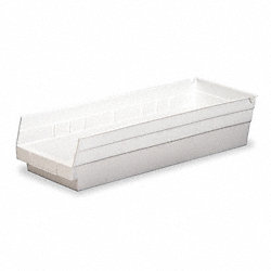 Plastic Shelf Bin, W 11 1/8, H 4, White