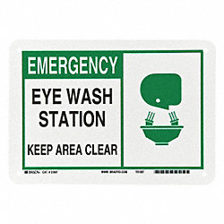 Eye Wash Sign, 7 x 10In, GRN and BK/WHT