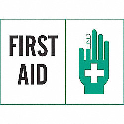 First Aid Sign, 7 x 10In, GRN and BK/WHT