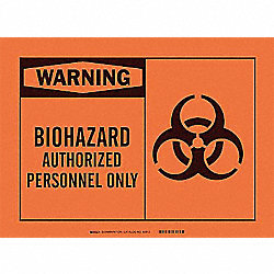 Warning Biohazard Sign, 10 x 14In, BK/ORN