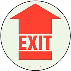 Exit Sign, 17 x 17In, R/WHT, Exit, ENG, FL