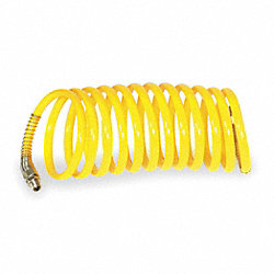 Coiled Air Hose, 3/8 In ID x 12 Ft, Nylon