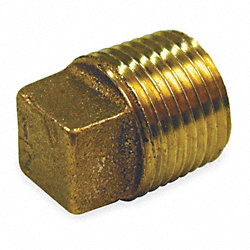 Cored Plug, Red Brass, 1/2 In, 150 PSI