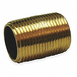 Nipple, Red Brass, 1/4 x Close, Threaded