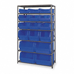 Bin Shelving, Solid, 42X18, 16 Bins, Blue