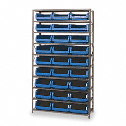 Bin Shelving, Solid, 42X18, 27 Bins, Blue