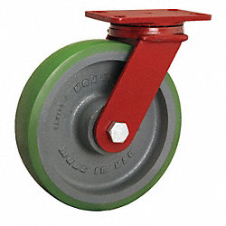 Swivel Plate Caster, 2200 lb, 10 In Dia