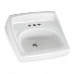 Lavatory Sink, Wall Mt, 4 In Center, 18-1/4