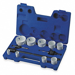 Hole Saw Kit, Bimetal, 3/4 To 2.5 In, 12 Pc