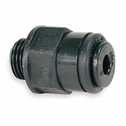 Male Connector, 12mm Tube OD, Black, PK 10