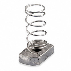 Channel Nut With Spring, 3/8-16 In, Steel