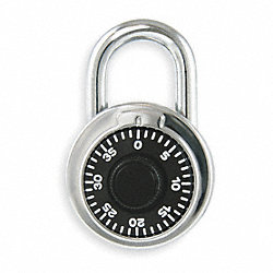 Padlock, Combination, SS, L 1 3/4 In