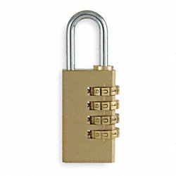 Padlock, Combination, Brass, L 1 15/16 In