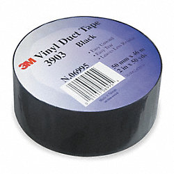 Duct Tape, Vinyl, Black, W 2 In, 50 Yd