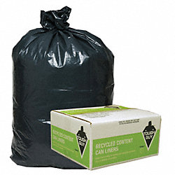 Recycled Can Liner, 56 gal., Black, PK100