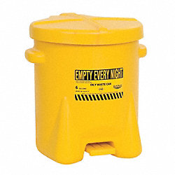 Oily Waste Can, 6 Gal., Poly, Yellow