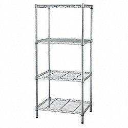Industrial Wire Shelving, H63, W48, Chrome