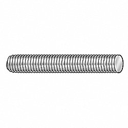Threaded Stud, 5/8-11 x 7 In, PK 4