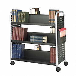 Book Cart, Double-Sided, Black