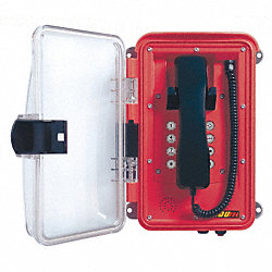 Weatherproof Telephone, Red/Clear Lid