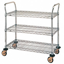 Utility Cart, Chrome, 32x18x38, 3 Shelf