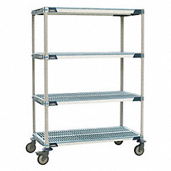 Utility Cart, Microban, 36x18x68, 4 Shelf