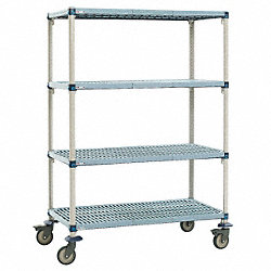 Utility Cart, Microban, 60x24x68, 4 Shelf