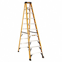 Stepladder, Fiberglass, 10 ft H, 300 lb Cap