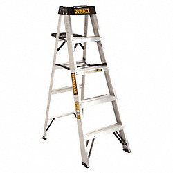 Stepladder, Aluminum, 5 ft. H, 300 lb. Cap.