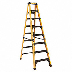 Stepladder, Fiberglass, 8 ft. H, 500 lb Cap
