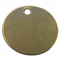 Blank Tag Round, Brass, 1-3/8 IN, PK 25