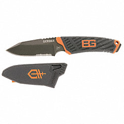 Fixed Blade, Serrated, 7-7/8 In, Orange/Blk
