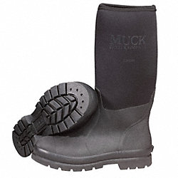 Boots, Steel Toe, Rubber, Black, 12, PR