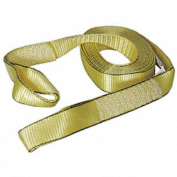 Tow Strap, w/Lopps, 2 In x 20 Ft., Yellow