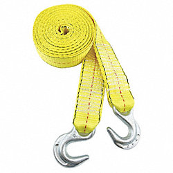 Tow Strap, w/Hooks, 2 In x 15 Ft., Yellow